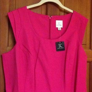 Bright pink classy & lined sleeveless dress.